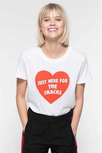 Here For The Snacks Loose Tee WHITE