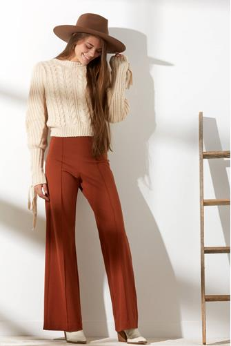 Cable Lace-Up Puff Sleeve Pullover CREAM