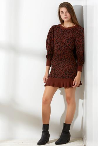Leopard Sweater Ruffle Mini Dress BROWN-MULTI--