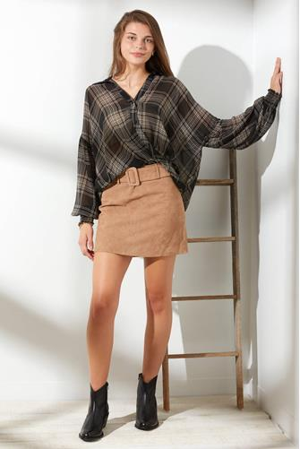 Plaid Chiffon Surplice Blouse  BLACK MULTI -