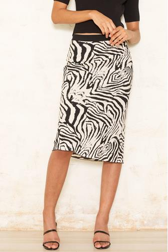 Zebra Midi Skirt BLACK-MULTI--