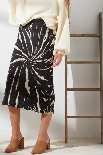 Black Tie Dye Midi Skirt BLACK-MULTI--