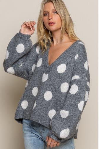 Polka Dot Open Back Pullover GREY MULTI -