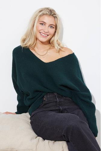 Hunter Green Waffle Stitch Pullover HUNTER-GRN