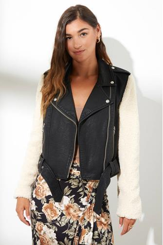 Anita Leather Sherpa Moto Jacket BLACK
