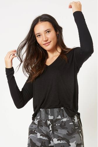 Twist Back V-Neck Top BLACK