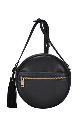 FAUX LEATHER CIRCLE CROSSBODY BLACK