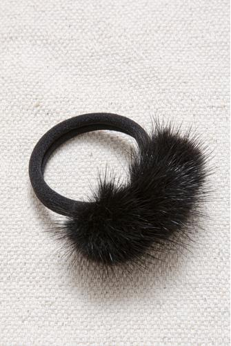 Faux Mink Fur Hair Tie BLACK