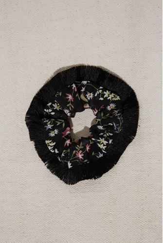 Fringe Black Floral Scrunchie BLACK
