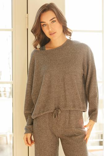 Hang Out Thermal Long Sleeve Top CHARCOAL