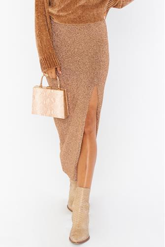 Miracle Gold Shimmy Shine Midi Skirt GOLD
