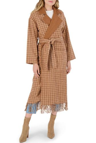 Plaid Fringe Wrap Coat CAMEL