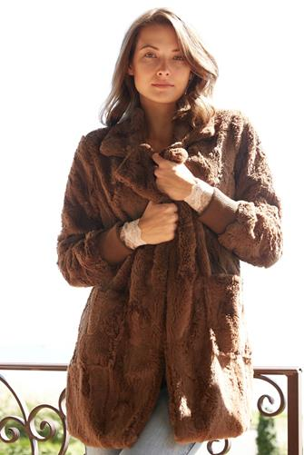 Taupe Swirl Next Door Faux Fur Jacket TAUPE