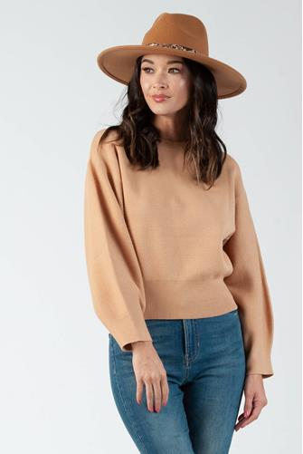 Fitted Waist Solid Pullover CAMEL