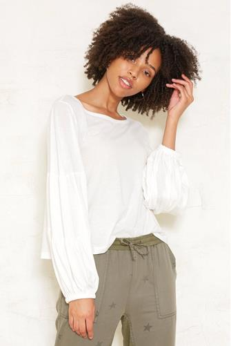 Scoop Neck Puff Sleeve Top OFF-WHITE