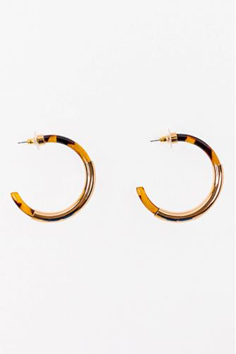 Mixed Resin Tortoise Hoop Earrings TORTOISE