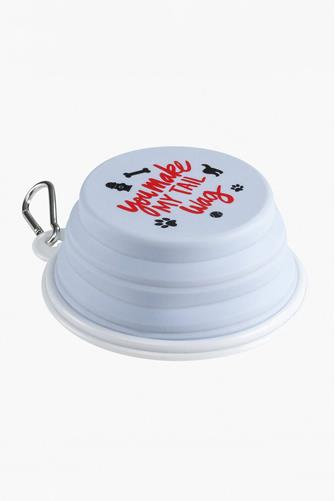 Tail Wag Pop-Up Dog Bowl WHITE