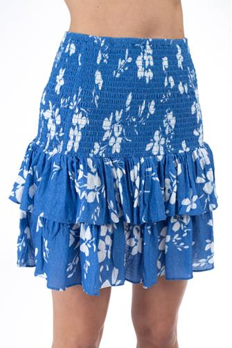 Blue Floral Smocked Mini Skirt BLUE