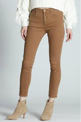 Jackie Hi Rise Button Front Skinny Jean CAMEL