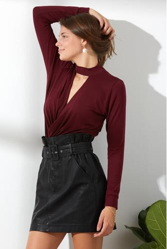 Mock Neck Surplice Long Sleeve Top WINE