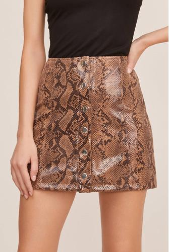 Come Slither Mini Skirt BROWN