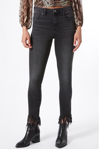 Great Jones Fringe Hem Jean in Falcon BLACK