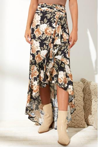 Floral Hi-Lo Ruffle Skirt BLACK-MULTI--
