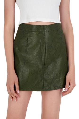 Vegan Leather Snake Mini Skirt OLIVE
