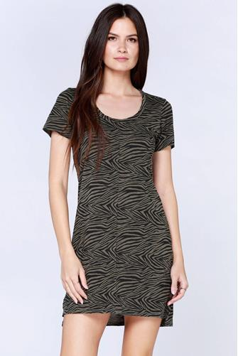Zebra Scoop Neck Dress BLACK MULTI -