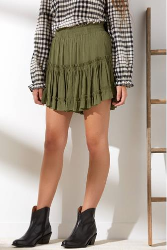 Olive Tiered Ruffle Mini Skirt OLIVE
