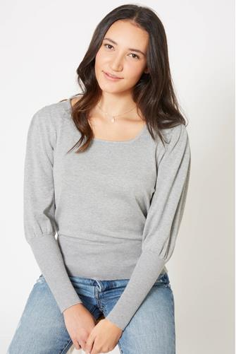 Puff Sleeve Square Neck Sweater GREY