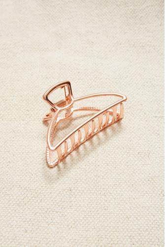Rose Metal Half Moon Claw Hair Clip ROSE