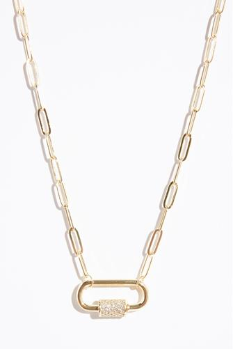 Chain Link Lock Necklace GOLD