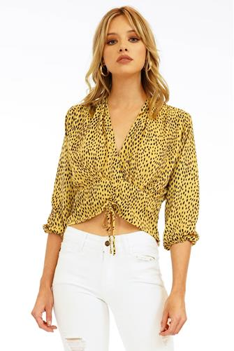 Ruched Front V-Neck Top YELLOW