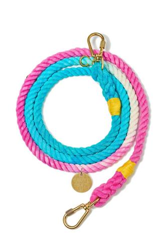 The California Adjustable Cotton Rope Leash PINK-MULTI--