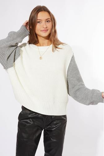 Contrast Sleeve Pullover WHITE-MULTI--