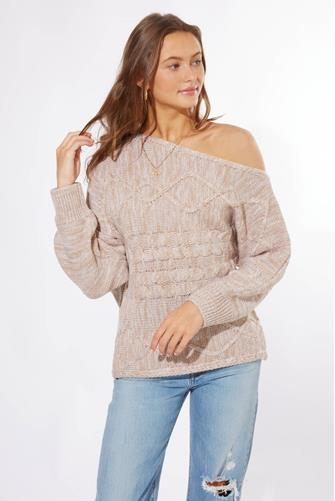 Off Shoulder Cableknit Pullover TAN