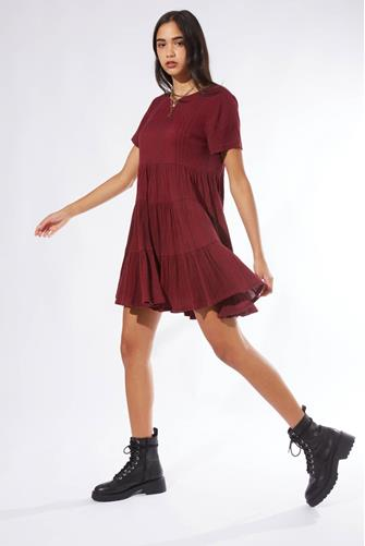 Tiered Babydoll Dress  RED-MULTI--