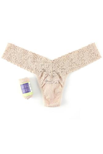 Neutral Low Rise Lace Thong NUDE