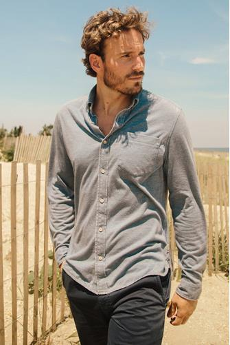 Blue Washed Knit Long Sleeve Button Down Shirt BLUE