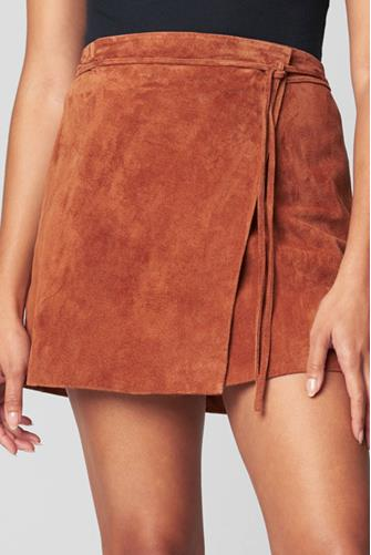 Mud Pie Suede Wrap Mini Skirt BROWN