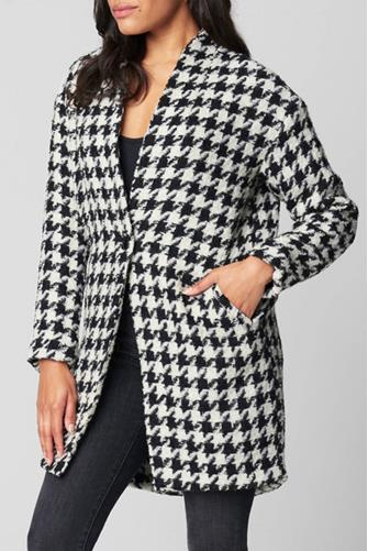Your Own Beat Houndstooth Coat BLACK-MULTI--