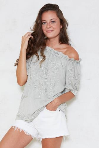 Solitaire Fashion Embroidered Off The Shoulder Top OLIVE