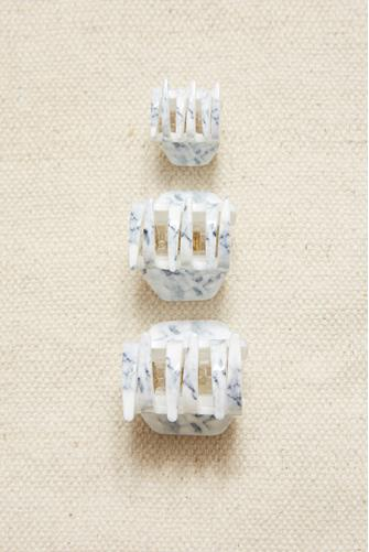White Marble Claw Hair Clip Three Pack WHITE-MULTI--