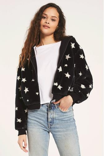 London Star Faux Fur Hooded Jacket BLACK