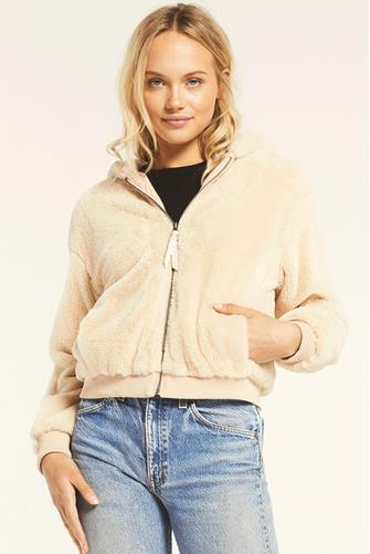 London Faux Fur Hooded Jacket OATMEAL