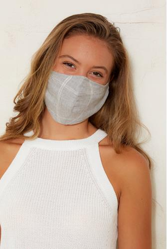 Heather Grey Plaid Face Mask GREY