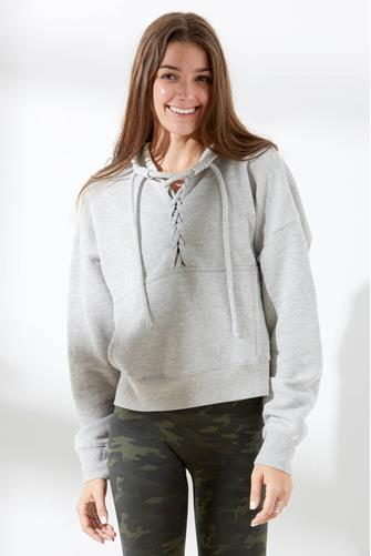 Believe It Lace-Up Hoodie GREY