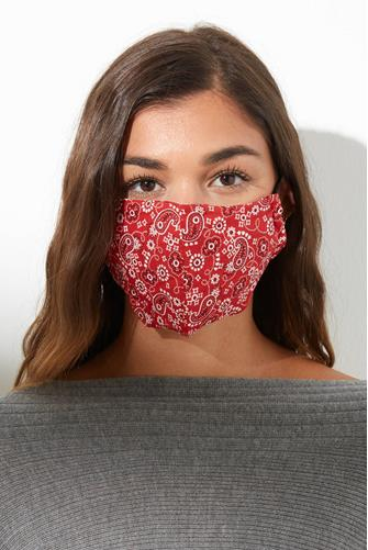 Red Paisley Print Face Mask RED