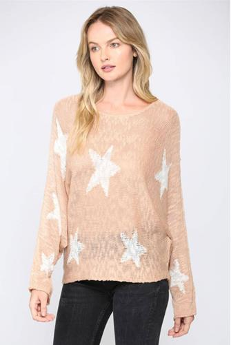 Tan Lightweight Star Pullover TAN